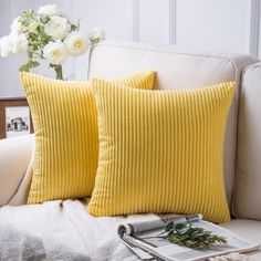 Fluffy Corduroy Velvet Solid Color Suqare Cusion Accent Decorative Throw Pillow for Couch, 18 inch x 18 inch, Yellow, 2 Pack Size: 18 inch x 18 inch