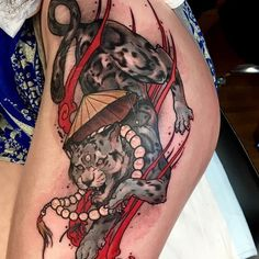 Snow Leopard Tattoo by Akos Japanese Tattoos For Men, Japanese Tattoo Symbols, Japanese Tattoo Art, Traditional Japanese Tattoos, Japanese Tattoo Designs, Japanese Sleeve Tattoos, Leopard Tattoos, Snow Leopard Tattoo, Foo Dog Tattoo