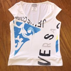 Versace top White printed Versace top with rhinestone R and A of the word Versace. Super cute. Blue detail on the left side. perfect condition Versace Tops