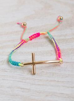Multi Color Bright String Bracelet with Gold Side Cross Deta,  Jewelry, cross bracelet  string bracelet, Casual