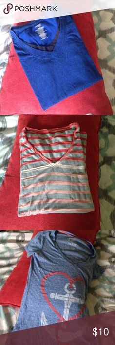 Faded Calvin Klein Tee Used, although the shirt is designed to have a faded appearance. picture 3 shows color fading on one of the stripes, picture 4 shows small hole under armpit. Tops Tees - Short Sleeve