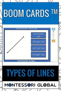 Montessori Geometry - Types of Lines Ideal for distance learning, this PowerPoint Presentation also includes self-correcting Boom Cards and printable 3 part Montessori nomenclature sets that include definition cards. Introduce types of lines in Geometry, online or in the classroom. #montessori #distancelearning #geometry #lines #types #typesoflines #PowerPoint #boomcards #nomenclature #definitions #interactive Geometry Online, Printable Cards, Printables, Types Of Lines, Browser Chrome, Montessori Math, Definitions, Distance, Presentation