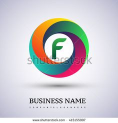 F letter colorful logo in the circle. Vector design template elements for your application or company identity. - stock vector