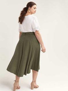 Shop online for Belted High-Low Skirt - L&L. Find Sale-Dresses-Skirts, and more at AdditionElle Plus Size Skirts, Plus Size Outfits, Trendy Outfits, Trendy Fashion, Addition Elle, Wide Width Shoes, Stylish Plus, High Low Skirt, Midi Skirt