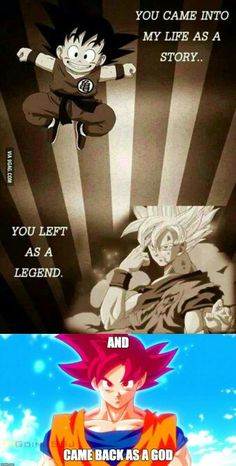 That's Goku. And for Vegeta it'd be... You came in my life as a BADASS You left as a BADASS And came back as a BADASS!!!