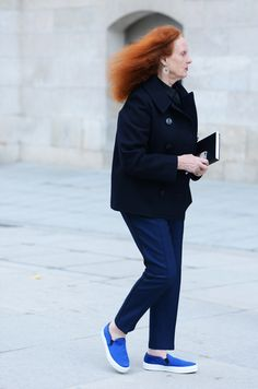 Grace Coddington on her way to work, New York City, New York, United States, 2014, photograph by Tommy Ton.