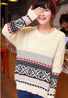 Beige Geometric Print Round Neck Loose Wool Sweater