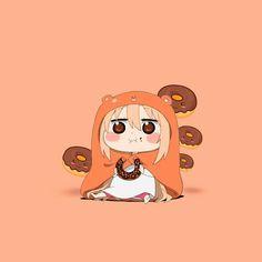 Umaru with donutd Anime Demon, Anime Manga, Anime Art, Chibi Girl Drawings, Kawaii Drawings, Anime Character Names, Anime Characters, Cartoon Tv Shows, Anime Shows