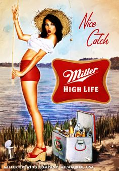 Sexy girl nice catch miller high life beer fridge tool box locker magnet