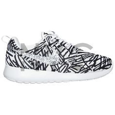 Abstract Lines Nike Roshe Run White Black Swarovski Crystal Accent... ($150) ❤ liked on Polyvore featuring accessories, shoes and silver