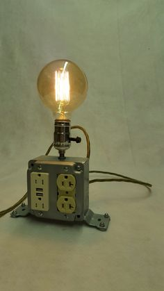 NEW Vintage Industrial Upcycled Steampunk Table/ Desk Lamp with 4 Outlets, 2 USB plugs with Vintage Cord and Plug! by RepurposedTX on Etsy