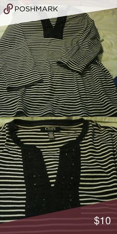 Nwot Ralph Lauren Chaps sz xl stripped cotton top Soft tee shirt material,  3/4 sleeves stripes . Eyelet neckline so nice. Excellent quality as Ralph does.  Xl Chaps Tops Tees - Long Sleeve