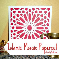 Papercutting is an art form with origins back in the century. Jianzhi, as it is called in China, was usually done by the royals, since they could afford… Islamic Motifs, Islamic Art, Mosaic Crafts, Mosaic Art, Islam For Kids, Paper Crafts For Kids, Middle School Art, Art Activities, Origins