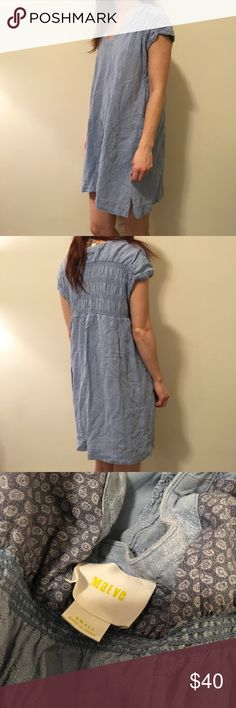 Maeve Anthropologie Blue Cotton Shift Dress Maeve by Anthro dress with a soft blue body and short sleeves. Not lined and has two front pouch pockets. Size small! Anthropologie Dresses Mini