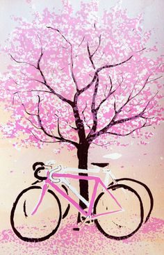 Ohanami Bicycles by sweetsandbitters on Etsy, $20.00