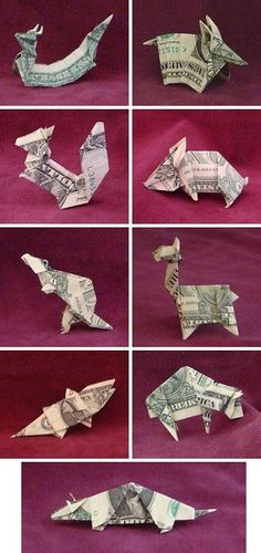 Money origami animals. Tuck into the kids' birthday cards, I'm thinking.
