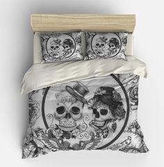 Crâne de literie, jour de la mort, couette douillette ensemble de couverture, noir blanc « Forevemore » sucre crânes Twin 2places