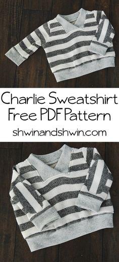 Charlie Sweatshirt || Free PDF Pattern  Baby maat, maar goede instructie
