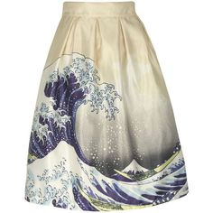 Inverted Pleat Seawater Printed Flared Midi Skirt (€25) ❤ liked on Polyvore featuring skirts, knee length flared skirts, flare skirts, flared skirts, calf length skirts and summer skirts