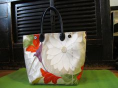 Reserved for Mariko: Flower Burst Kimono Tango Tote Bag  (Made from Japanese Silk Kimono Obi Fabric; Made in Japan; Kimono Bag; Purse)