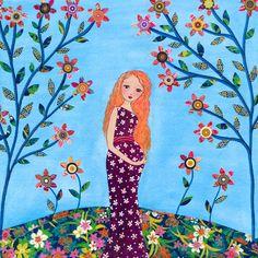 Motherhood, Mother and Baby Painting, baby Shower Gift,  Art Print on Wood, Nursery Art, New Babys Room Decor. $35.00, via Etsy.