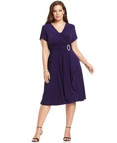 R Richards Plus Size Dress, Short-Sleeve Faux-Wrap - Plus Size Dresses - Plus Sizes - Macy's