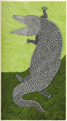 "Rambharos Jha, ""Crocodile"", tiré de ""Bestiaire du Gange"", 2012."