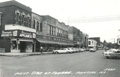 West Side of the Square in Pontiac, Illinois abt 1959...