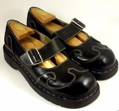 """ANARCHIC by TUK Women's Shoe's ~ Black Leather """"Wing TIp"""" Mary Janes ~ 10 M #TUK #MaryJanes"""