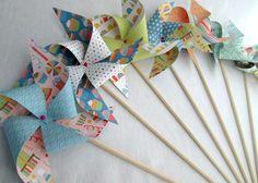 Paper Pinwheels Bright Prints Birthday Favors 10 Twirling Pinwheels Birthday Party Favors Baby Shower Favors Bat Mitzvah Pinwheel Favors by PinwheelPretties on Etsy