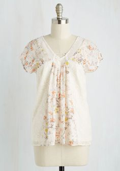 Cute Contribution Top - Cream, Multi, Floral, Print, Lace, Casual, Fairytale, Short Sleeves, Spring, Summer, Chiffon, Woven, Mixed Media, Lace, Better, V Neck, Mid-length