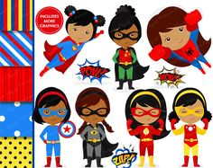 OFF SALE African American superhero clipart, supergirl clipart, superhero girl clipart, superhero costume, superheroes - Superhero Costumes For Boys, Superhero Characters, Superhero Clipart, Hero Of The Day, Art Bulletin Boards, Custom Party Invitations, Girl Clipart, How To Make Clothes, Super Hero Costumes