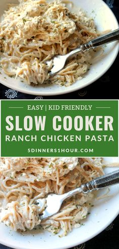 Ranch Chicken Pasta - A Kid Pleaser! - 5 Dinners In 1 Hour Easy Slow Cooker Ranch Chicken Pasta Dinner Recipe(Kid Friendly) Healthy Family Meals, Easy Healthy Recipes, Easy Kids Meals, Meals Kids Love, Slow Cooker Easy Meals, Easy Pasta Dinners, Easy Meals For Dinner, Chicken Dinner For Two, Healthy Dinners For Kids
