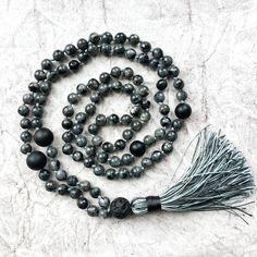 Lavakite meditation mala, yoga lover gift, mens #jewelry #necklace @EtsyMktgTool #aummindfulness #omshantijewellery #greytasselnecklace