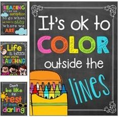 27 Classroom Poster Sets: Free and Fantastic Chalkboard Colorful Classroom Poster Quotes - 27 Classroom Poster Sets: Free and Fantastic - Teach Junkie Chalkboard Classroom, Classroom Signs, New Classroom, Classroom Setup, Classroom Displays, Classroom Organization, Classroom Management, Crayon Themed Classroom, Toddler Classroom Decorations