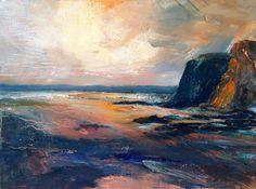 'Away from the crowd' www.sjbart.com #painting by #artist #sarahjanebrown #ArtoftheDay #beach #art #wales #sea #seascape #clouds #pembrokeshire #sky