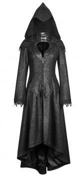 Veste noire à capuche gothique sorcière à dentelle, elfe noir Punk Rave