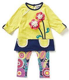 Rare Editions Baby Girls 12-24 Months Flower-Appliqued Color Block Dress & Floral Leggings Set
