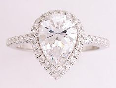 beautiful 2 carat pear cz engagement ring from Orleansjewels.com