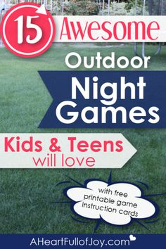 15 Great Outdoor Night Games for Kids and Teens Kids & Teens love outdoor night games, and this is a great compilation that kids & teens will love. Comes with free printable game instruction cards to make it super easy for everyone! Family Fun Games, Family Fun Night, Group Games, Outdoor Activities For Kids, Outdoor Youth Games, Camping Games For Kids, Easy Games For Kids, Indoor Games, Activities For Teens