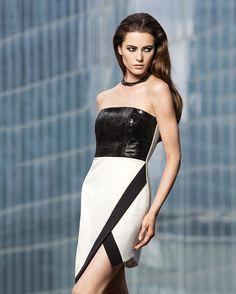holiday 2013 - Mason by Michelle Mason Laser Leather Strapless Dress - Intermix