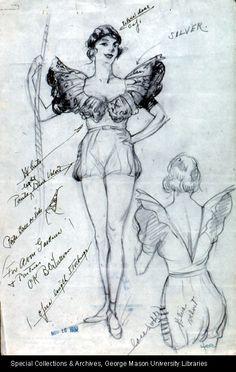 """Circus: Design for Woman's Costume"" 1935 Fashion Design Books, Fashion Design Sketches, Theatre Costumes, Cool Costumes, Retro Costume, Vintage Costumes, Totoro, Costume Design Sketch, Beautiful Costumes"