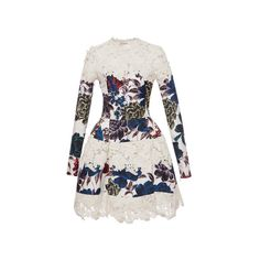 Emanuel Ungaro Silk Lace Floral Structured Short Dress ($10,680) ❤ liked on Polyvore featuring dresses, long sleeve lace dress, white lace dress, long sleeve mini dress, white dress and short white dresses