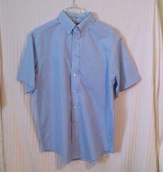 Roundtree & Yorke Medium Blue Black Stripe Men's Short Sleeve Button Dress Shirt #RoundtreeYorke