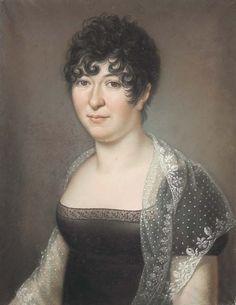 Baptiste Gagnereaux, Portrait of a lady wearing a mantilla, 1807