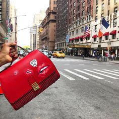 New York 🗽 New York 🗽 ....'Bite Me' 💋💋always a good idea! Get the bag on Covet Chic: http://www.covetchic.com/en/bags-clutches/972-leather-handbag-red-vienna-hand-painted-bite-me.html