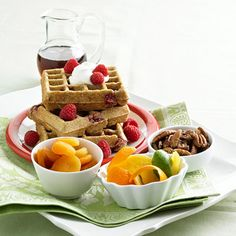 Serve a Mother's Day Brunch  -  Who doesn't like breakfast in bed? Serve up warm waffles, fruit, and juice to celebrate Mom's special day. Use cookie cutters to cut fruit -- such as watermelon, cantaloupe, and honeydew -- into fun springtime shapes. Mothers Day Classic, Unique Mothers Day Gifts, Mothers Day Crafts, Diy Mother's Day Brunch, Mothers Day Brunch, Memorial Day, Easy Waffle Recipe, Homemade Waffles, Mother's Day Diy