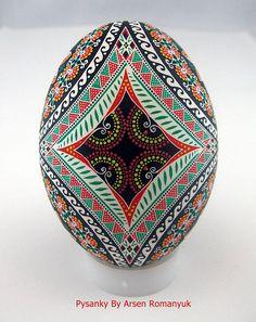 Real ukrainian pysanka in batik stile big goose egg