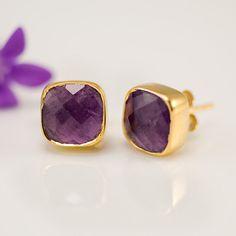 Stud Earrings  Cushion Cut Purple Amethyst Bezel Stud by delezhen, $72.00