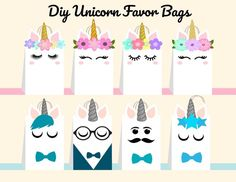 Unicorn DIY Favor Bag Template, Unicorn Party Bags Printable, Unicorn DIY Gift Bag, Unicorn Birthday Printable, Digital Files (You Print) printables printables for adults worksheet kindergarten birthday printable birthday printable cards Unicorn Party Bags, Unicorn Themed Birthday Party, Birthday Party Decorations, Diy Birthday, Happy Birthday, Birthday Gift Bags, Birthday Gifts For Kids, Diy Party, Party Favors